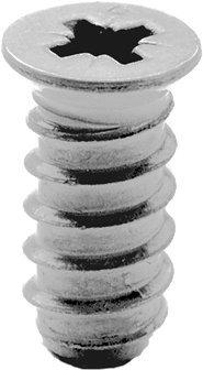 RONIN FURNITURE FITTINGS® BLUM Systemschrauben 6x11,5mm für 5mm Lochreihe, Senkkopf Pozidrive vernickelt 100 Stück 661.1150.HG (1150 Scharnier)