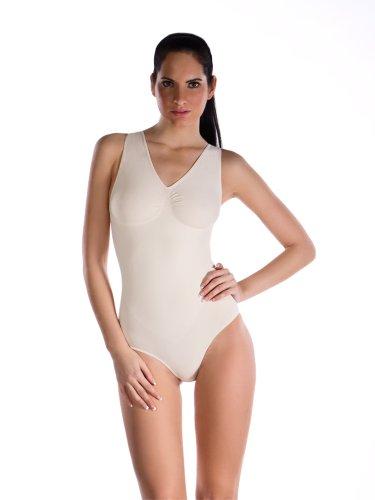 belly cloud Damen Body  figurformend mit V-Ausschnitt Elfenbein (Champagner)