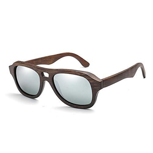 YJiaJu Mode Bambus Handmake Brille Bambus polarisierte Sonnenbrille männliche und weibliche Piloten Klassische Spiegel Farbe Film Bambus Beine Sonnenbrille männer Frauen uv400 Schutz