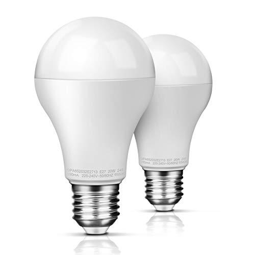 LED Lampe E27 20W (ersetzt 150W) Glühbirne, Kaltes Weiß (6500K), 2452 Lumens Awenia Lighting, 2-er Pack (150w Led-lampe)