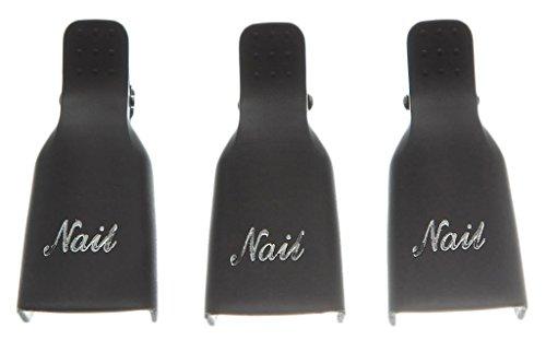 EOZY 10PCs Clips de Ongle Art en Plastique pour Tremper le Dssolvant Effacer Vernis d'Angle Noir