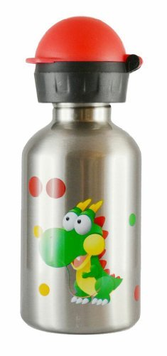 Cheeki 350ml Kids Stainless Steel Water Bottle - Dinosaur - BPA Free