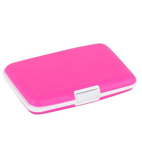2-TECH Deluxe Silikon Kreditkarten Etui Alu Case Wallet PINK - Deluxe Damen Geldbörse