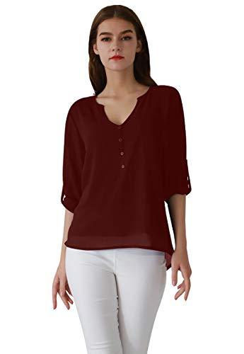 OMZIN Damen Tops Chiffon Langarm Shirts Casual Bluse Langarm V-Ausschnitt Knöpfe Decor Asymmetrisch Shirts Tops Burgundy M -