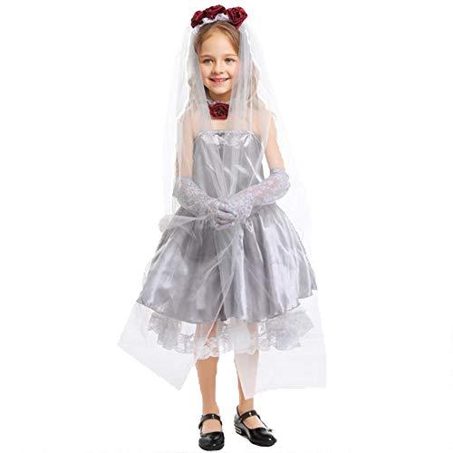 Kind Bride Ghost Kostüm - Ghost Bride Halloween Maskerade Kostüm Mädchen weißes Kleid Cosplay Dress Up Weiß