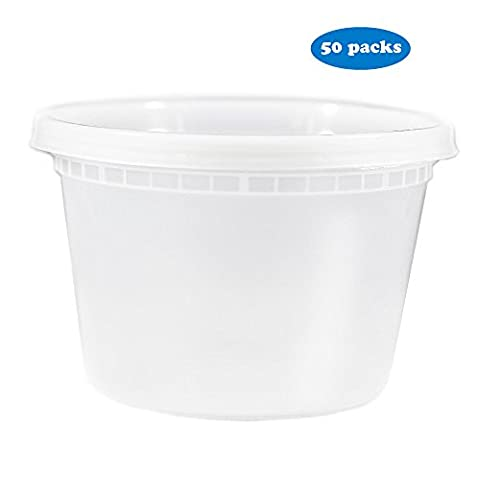 EDI Plastic Deli Food Storage Containers with Lids 50 Sets (16OZ)