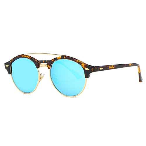 kimorn Polarizado Gafas De Sol Unisex Retro Semi-Rimless Vigas Gemelas Diseño AE0504 (Carey&Azul, 51)