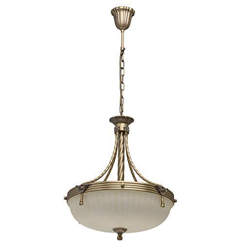 Antike Pendelleuchte 4-flammig messingfarbiges Metall vanillafarbiges Glas 90cm hoch Durchmesser 45cm indirektes diffuses Licht für Flur Küche Esszimmer Wohnzimmer Schlafzimmer exkl.4 * 60W E14 -