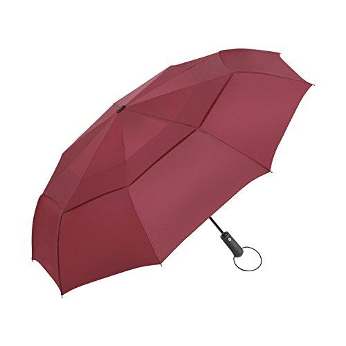 Ombrello Pieghevole antivento Vanwalk,Automatico Apri e Chiudi, Compatto Antivento Ombrello per esterno da viaggio , 9 stecche rinforzate, 190T Fabric Sturdy (rosso)