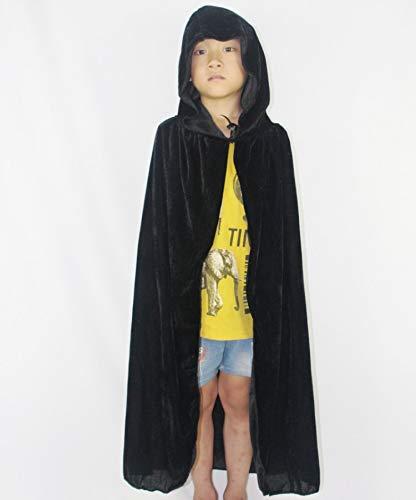GYH Damen Men Halloween Kostüm Samt Kapuze Mantel Cape Masquerade Cosplay Zubehör,Black,130Cm