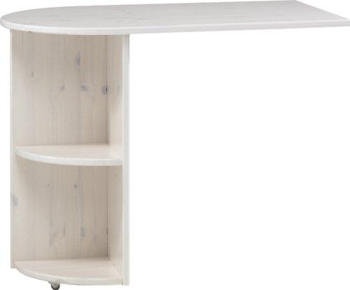 Steens For Kids Anbauschreibtisch für Kinderbett, Hochbett, ausziehbar, 60 x 72 x 92 cm (B/H/T), Kiefer massiv, weiß