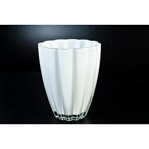 INNA Glas Kleine Glasvase/Tischvase BEA, weiß, 17 cm, Ø 14 cm - Blumenvase/Dekovase