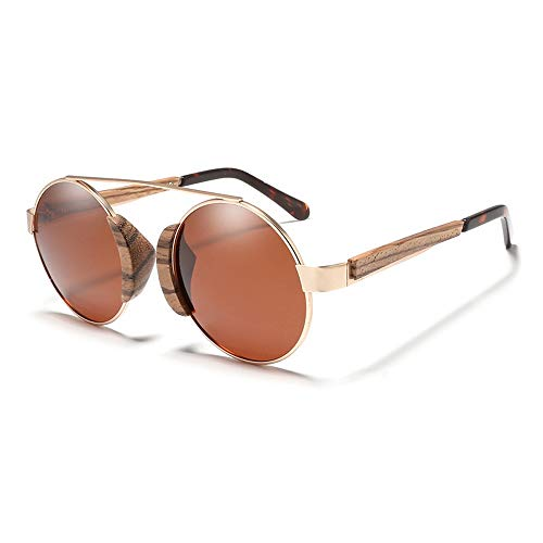 Gläser Runde Rahmen Holz Sonnenbrille Retro Classic Männer Frauen polarisierte Bambus Brille Brillen (Color : Braun, Size : Kostenlos)