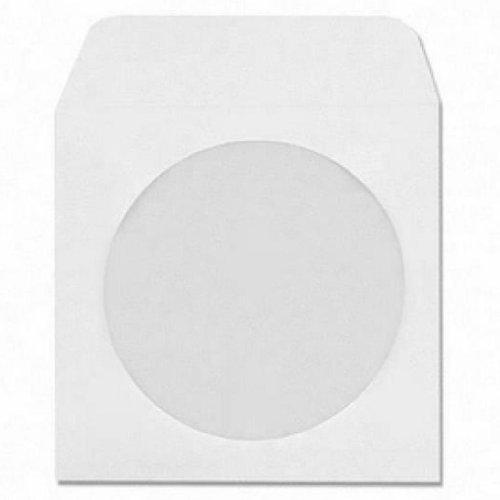 Four Square Media - Custodie in carta per CD/DVD, con finestra e aletta, confezione da 100, colore bianco