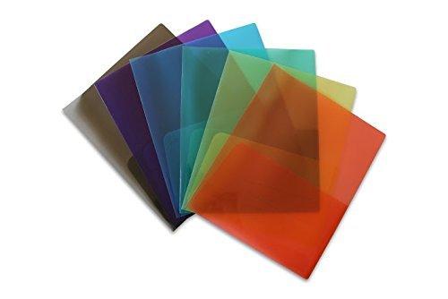 STEMSFX Schwerlast- und leichte Plastikfeileordner für Briefpapier mit einem Visitenkartenschlitz Packung mit 6 Stück Transparent (6-pack-tasche Integrierte)