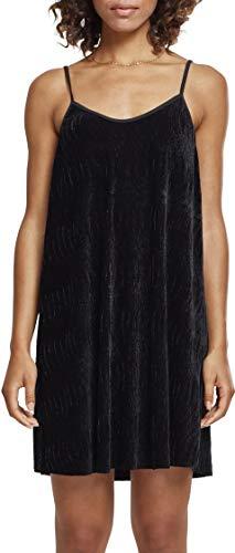 Urban Classics Damen Kleid Ladies Velvet Slip Dress, Schwarz (Black 00007), Medium (Velvet Kleid)