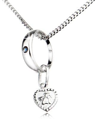 Schmuckset mit Taufring Safir und Herz Schutzengel mit Kette - Echt Silber