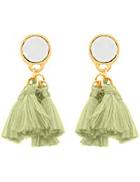 Voylla Gold Plated Drop Earrings for Women (Green)(8907617478975)