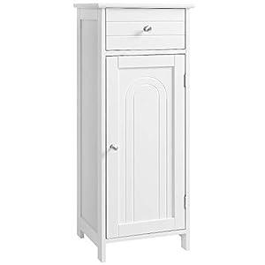 VASAGLE Badezimmerschrank, freistehender Badschrank, Standschrank aus Holz, mit Schublade, innen mit verstellbarem Einlegeboden weiß, BBC48WT