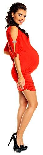 Zeta Ville - maternité - robe - tunique grossesse - à manches 3/4 - femme - 157c Rouge