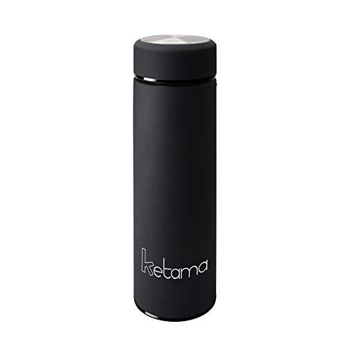 SCHWARZE THERMOSFLASCHE - doppelwandig mit TEESIEB 0,5l (500ml) EDELSTAHL gummiert - GUMMI beschichtet KLEIN & handliche TRINK-FLASCHE | Reise Isolier-Kanne | auch für BABYs & KINDER | BPA frei