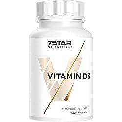 Vitamin D3 hochdosiert 1000 IE Depot | 200 Tabletten für Knochen, Zähne, Gelenke und das Immunsystem | Jahresvorrat (keine Kapseln) | Hergestellt in Deutschland | 7 Star Nutrition