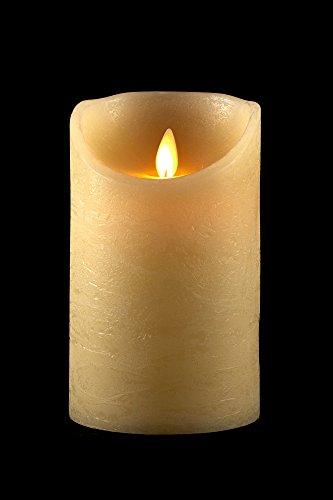 prsTECH® - TrueFlame - Vela LED de cera con llama móvil, Efecto Llamas, Beige - 18 cm (1 Stk.)
