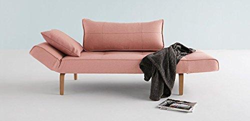 ZEAL divano letto ROSA con piedino in legno chiaro curvo
