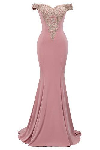 MisShow 2019 Damen Elegant Off Shoulder Abendkleid Spitzen Hochzeitskleid Meerjungfrau Ballkleid lang EU 32-46 - Abschlusskleider lang