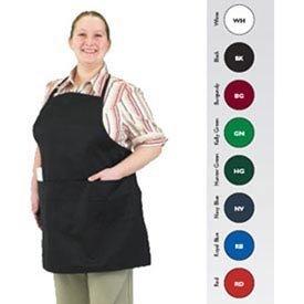 Jamar 601BAO 3 San-Gourmet Professional, Polyester, Baumwolle, volle Länge, Latzschürze mit 3 Fächern, Taschenformat, 76.20 cm Länge x Breite 71.12 cm, weiß, von San Jamar (Latzschürze Volle)