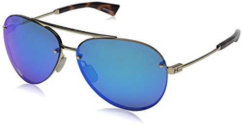 Under Armour Double Down 8600083-949661 Aviator Sunglasses, Shiny Gold/Shiny Tortoise, 64 mm
