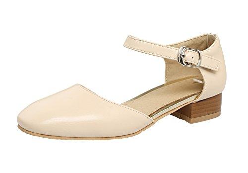 AgeeMi Shoes Womens PU Mini Heel Buckle Living Room, EuD56 Apricot 36