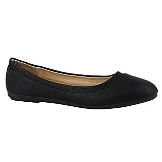 Klassische Damen Ballerinas Flats Slipper Flache Übergrößen Spitze Metallic Glitzer Schuhe 142224 Schwarz Avelar 37 | Flandell®