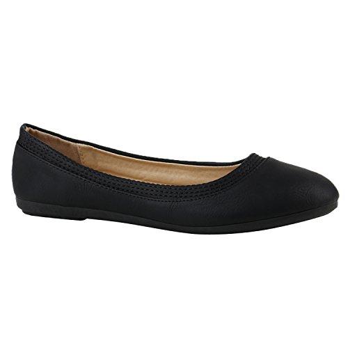 Klassische Damen Ballerinas Flats Slipper Flache Übergrößen Spitze Metallic Glitzer Schuhe 142224 Schwarz Avelar 38 | Flandell®