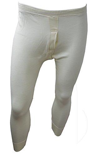 Custode® British Made da uomo lusso biancheria intima termica Long Johns Pantalone Lungo Natural Cream Cintola: 34-36 S
