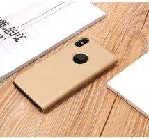 Meimeiwu Clear View Flip Custodia Cover con Funzione Kickstand [Sleep/Wake Funzione] Ultra-Sottile Specchio Traslucido Smart Cover per iPhone X - Porpora Oro