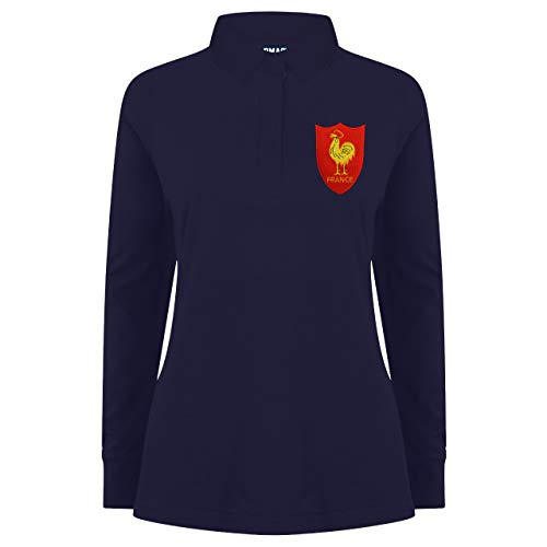 Damen Vintage Bestickt French Hahn Frankreich Long Sleeve Rugby-Shirt aus Print Me A Shirt in Marineblau/Navy Gr. X-Large, Navy-and-Navy -