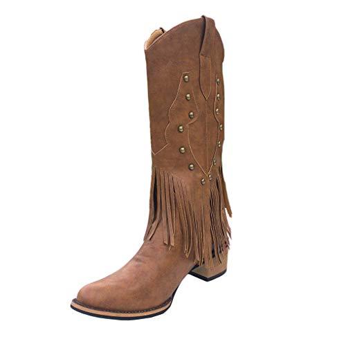 Dorical Hohe Stiefel für Damen/Frauen Retro Langschaft Kniehohe Stiefel Winterschuhe Damenschuhe Stiefel Klassische Stiefel mit Quaste(Braun,36 EU)