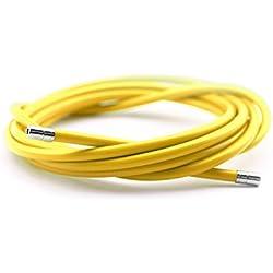 Funda Color Amarillo para Cable de Freno de Acero Laminado Sirga de Ø5 y 2m para Bicicleta Fixie Retro 2898am