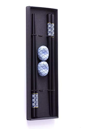 Essstäbchen Premium Holz 2 Paar inklusive Keramik-Unterleger Asiatisch Japanisch Chinesisch Koreanisch Edel mit schwarzer Schatulle ()