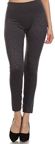 Sakkas YC1501 Jenny Mitte Riff Tier Druck gemusterten schlank passen Fleece gefüttert Leggins - Holzkohle - One Size Regular - Länge Leggings Footless Tights