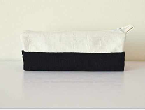 Stiftebeutel aus reiner Baumwolle, Schwarz und Weiß, mit dickem Stiftebox, einfache Schreibwarentasche -