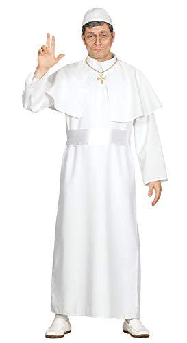 Fancy Me Herren-Kostüm, Weiß, 4 Stück, Papst, katholischer Priester, Heiliger Vater, religiöser Hirsch, Nacht, Törtchen, Vikar-Kostüm, M-XL (Katholische Papst Kostüm)