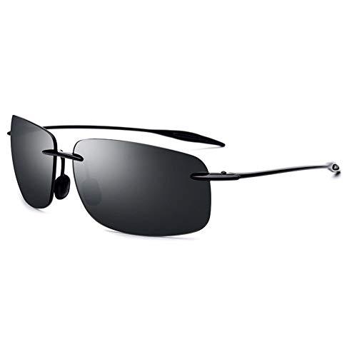 Lxc Ultraleichte Sonnenbrille Herren Randlos Fahrer Fahrspiegel TR90 Eckige Sonnenbrille Weibliche UV400-Schutz Zeige Temperament (Farbe : Gray)