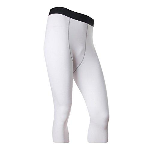 YiJee Hombre Secado Rápido Pantalones de Compresión de Running Blanc