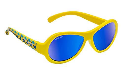 Cressi Unisex- Babys Scooby Sunglasses Polarisiert Kinder Sonnenbrille, Gelb Whale/Spiegel Linse Blau, 0-2 Jahre