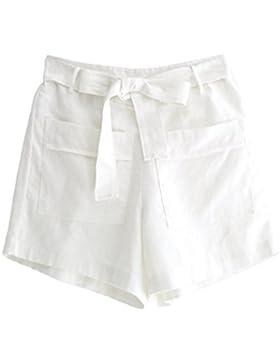 092513d10471ff LvRaoo Donna Pantaloncini Estivi con Cintura Elegante Tie-Waist Pantaloni  di lino per Spiaggia Festa