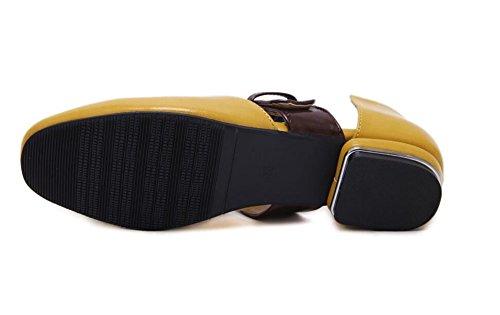 L&Y Donne Chiusure A Dito Delle Gambe Nuovo Quadrato Testa Bassa Cintura Inarcamento Delle Scarpe Delle Bocche Superiori Scarpe Da Ginnastica Delle Singole Mules Giallo
