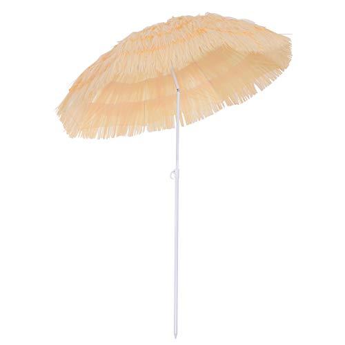 Outsunny Parasol de Plage Jardin Design Hawai 160cm Raphia Artificiel Beige