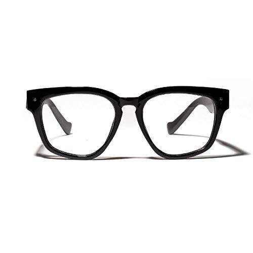 WULE-RYP Polarisierte Sonnenbrille mit UV-Schutz Quadratische Retro Schwarze Rahmen-Flache Brille-Nerd-Gläser, klare Linse, Kostümparty Superleichtes Rahmen-Fischen, das Golf fährt (Farbe : Schwarz)